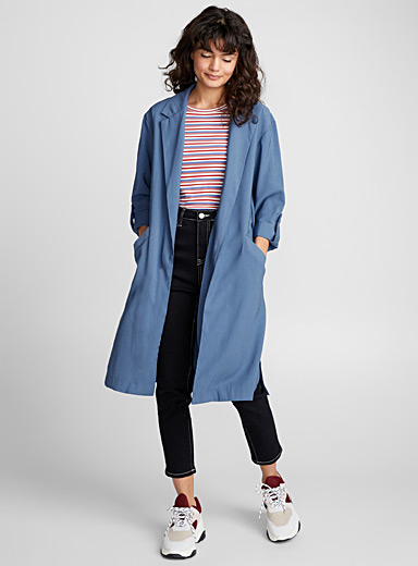 Long viscose trench jacket
