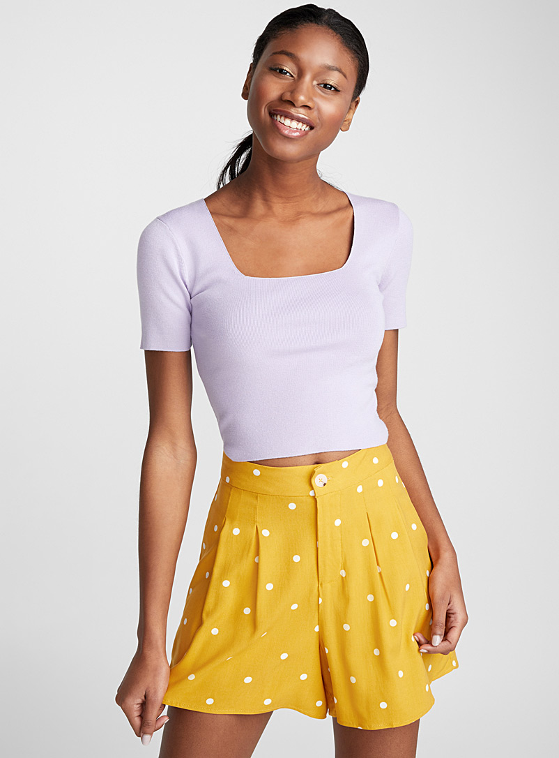 Printed pleated short - Shorts - Patterned Yellow