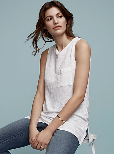 Linen patch-pocket tank