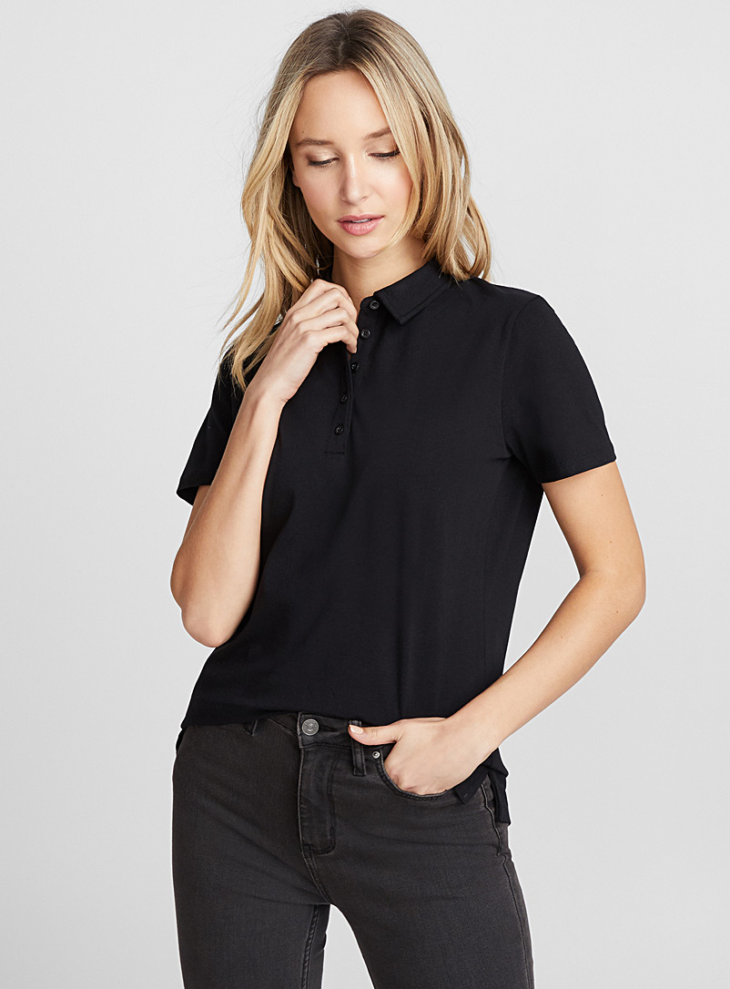 Solid jersey polo - Short Sleeves & ¾ Sleeves - Black