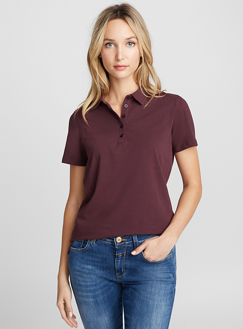Solid jersey polo - Short Sleeves & ¾ Sleeves - Ruby Red