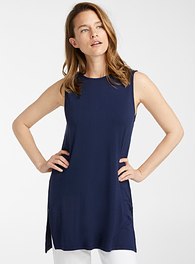 Contemporaine Dark Blue Eco-friendly jersey tank tunic for women