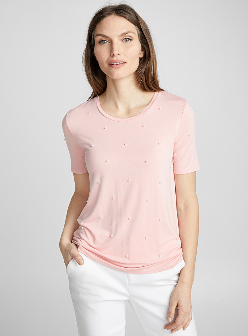 Tiny pearls tee - Short Sleeves & ¾ Sleeves - Dusky Pink