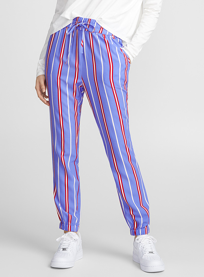 Printed pure rayon jogger pant - Joggers - Patterned Blue