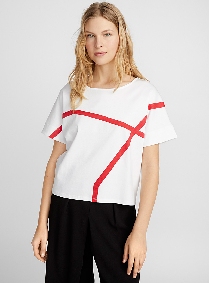 Mercerized cotton accent stripe tee - Short Sleeves & ¾ Sleeves - White