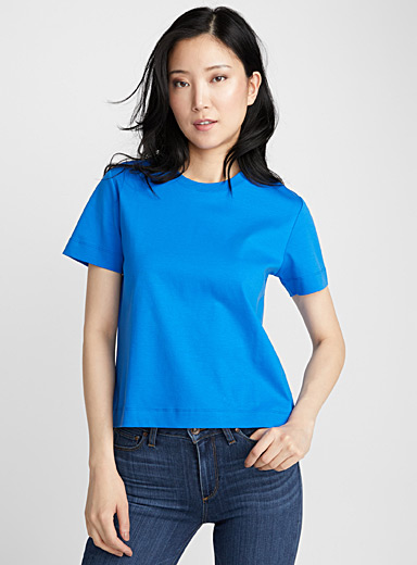 Cropped mercerized cotton tee