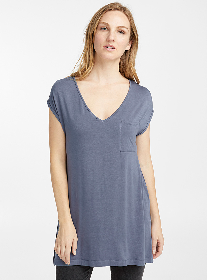 Loose patch pocket tunic - Short Sleeves & ¾ Sleeves - Slate Blue