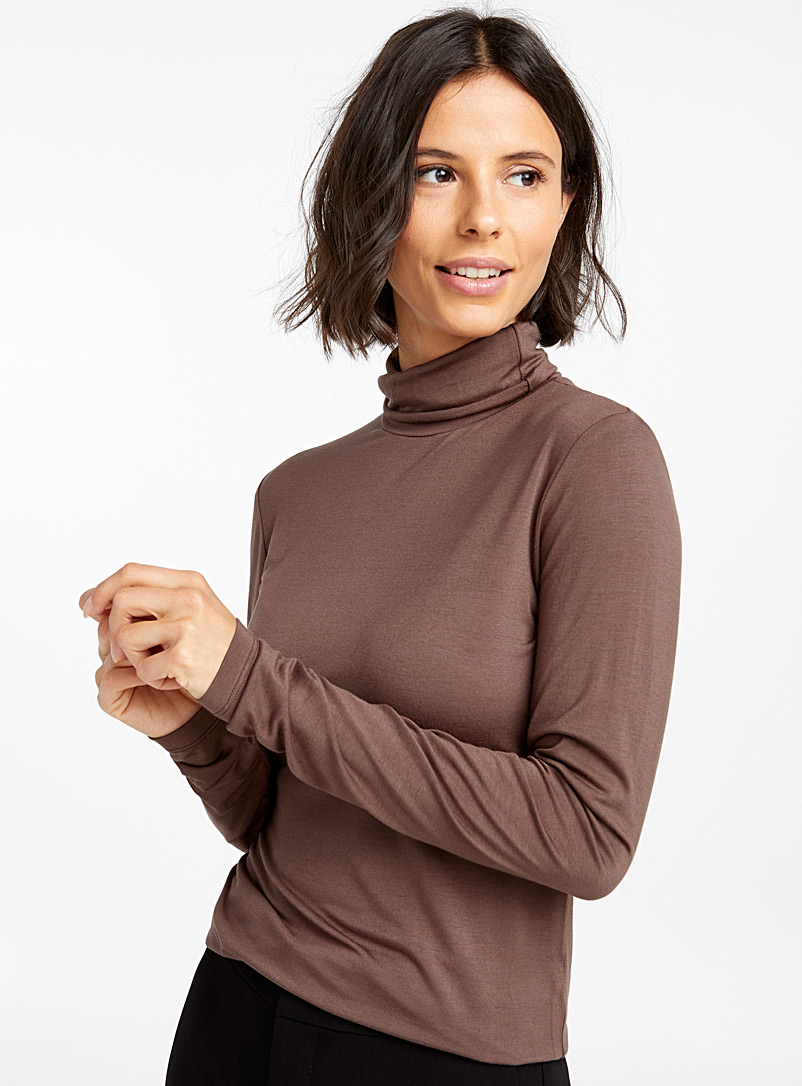 Fluid jersey turtleneck - Long Sleeves - Medium Crimson