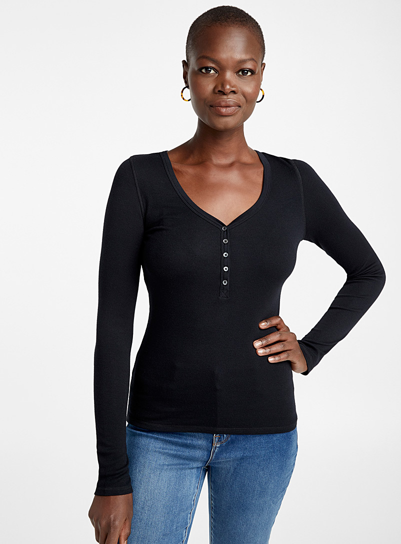 Ribbed button V-neck modal tee - Long Sleeves - Black