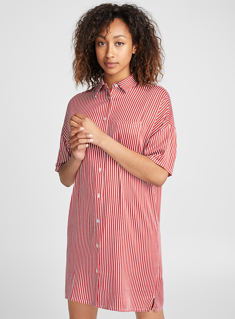 Vertical stripe nightshirt - Nighties & Sleepshirts - Red