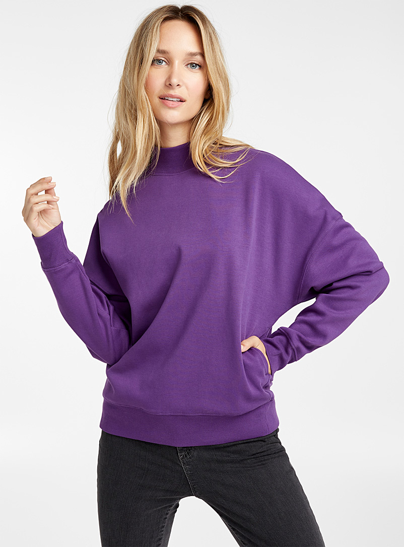 Loose mock-neck sweatshirt - Sweatshirts & Hoodies - Crimson