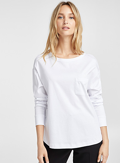 Mercerized cotton high-low tee