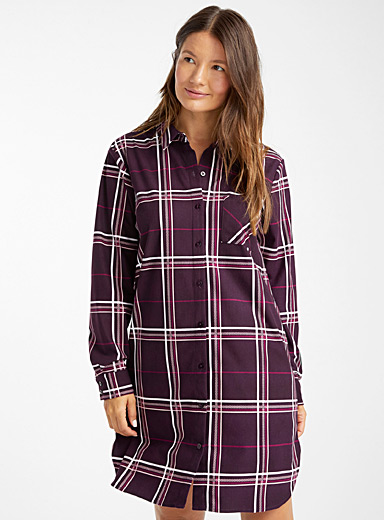 Purple check nightshirt