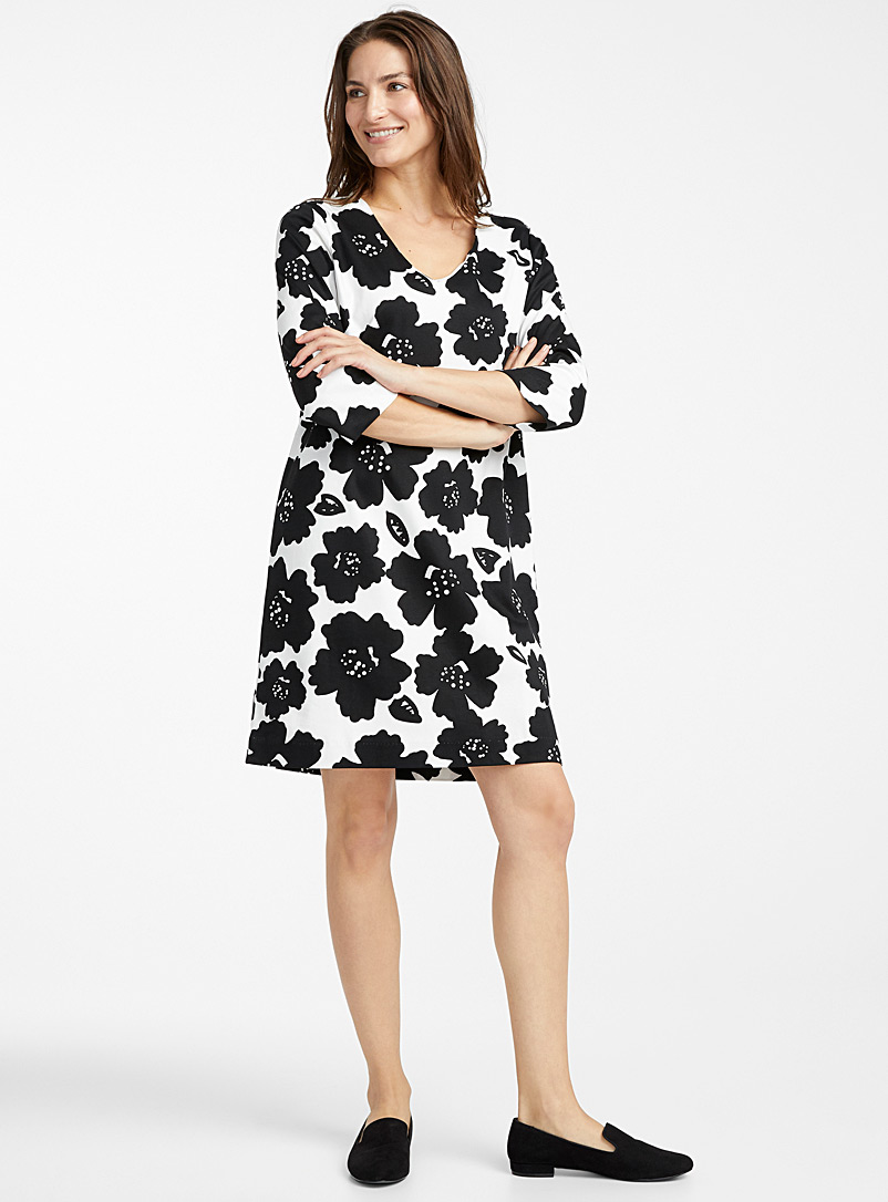 Contemporaine Patterned Black Mercerized organic cotton dress for women