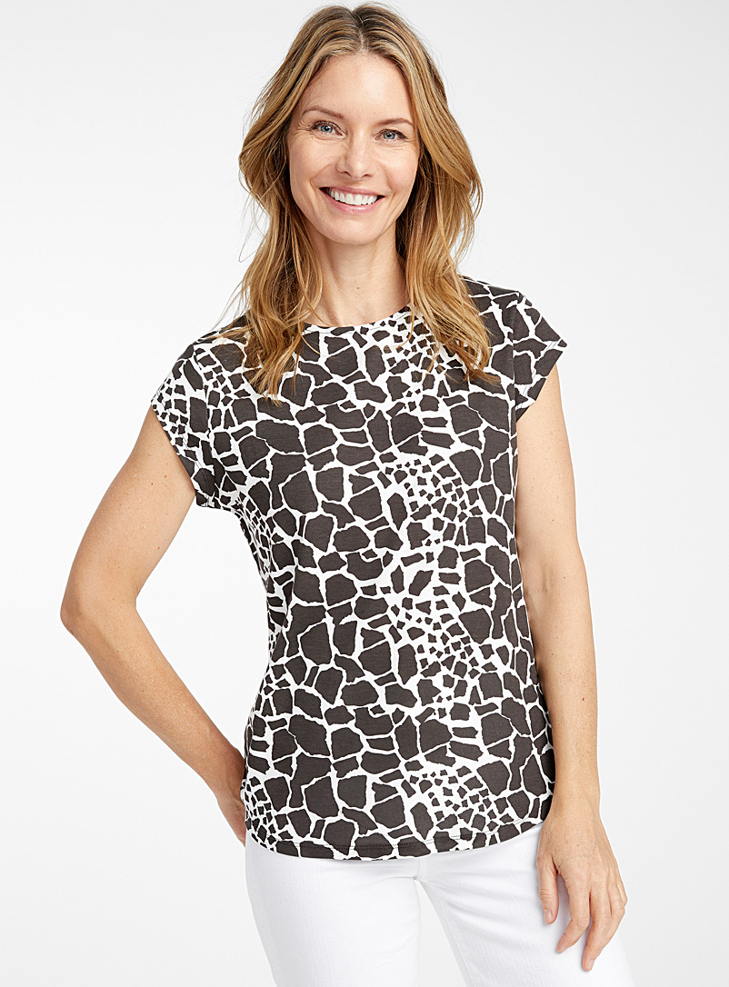 Contemporaine Black and White Printed lyocell cap-sleeve tee for women