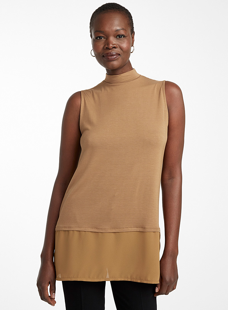 Contemporaine Toast Voile-trimmed tunic for women