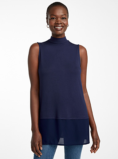 Contemporaine Marine Blue Voile-trimmed tunic for women
