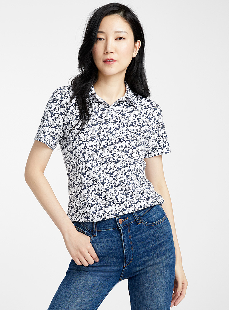 Contemporaine Patterned White Printed jersey polo for women