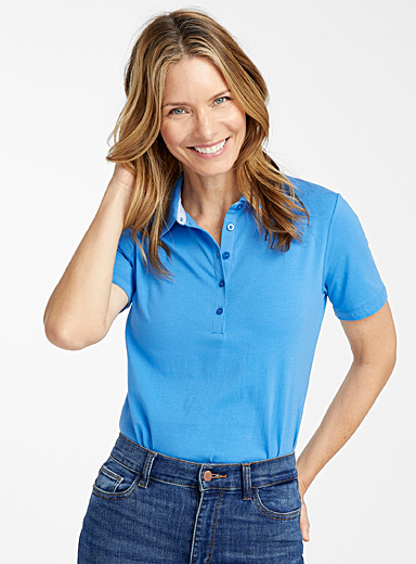 Contemporaine Blue Solid jersey polo for women