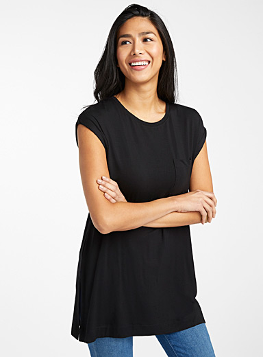 Contemporaine Black Oversized eco-friendly viscose tee for women