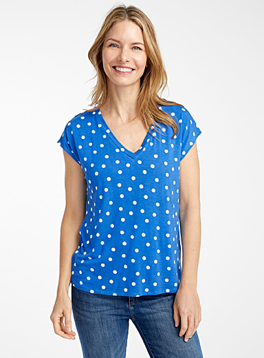 Contemporaine Blue Pretty pattern eco-friendly viscose tee for women