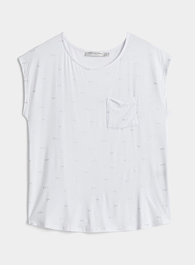 Contemporaine White Small pattern cap-sleeve tee for women