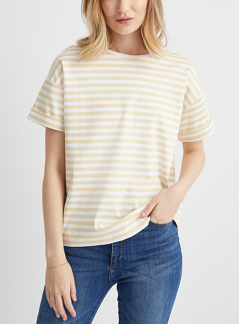 Contemporaine Patterned Yellow Mercerized cotton striped tee for women