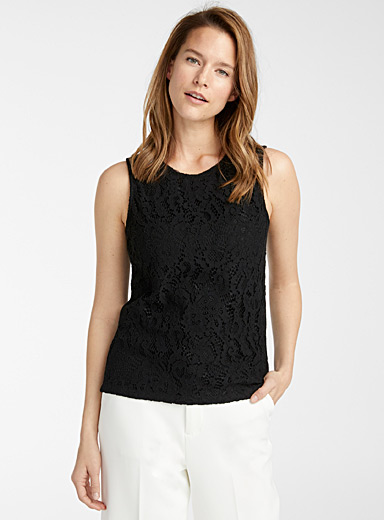 Contemporaine Black Floral lace tank for women