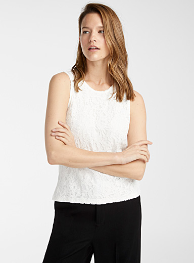 Contemporaine Ivory White Floral lace tank for women