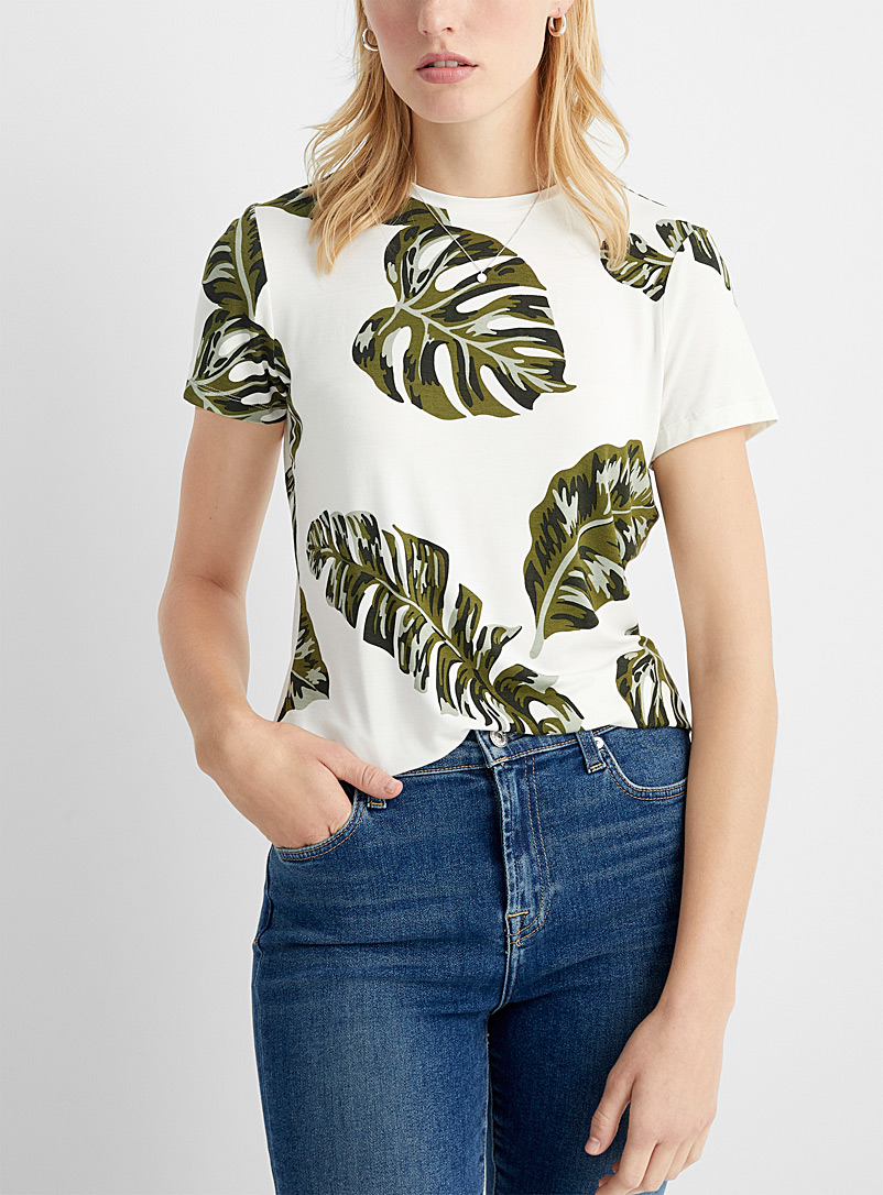 Contemporaine Cream Beige Charming patterned tee for women