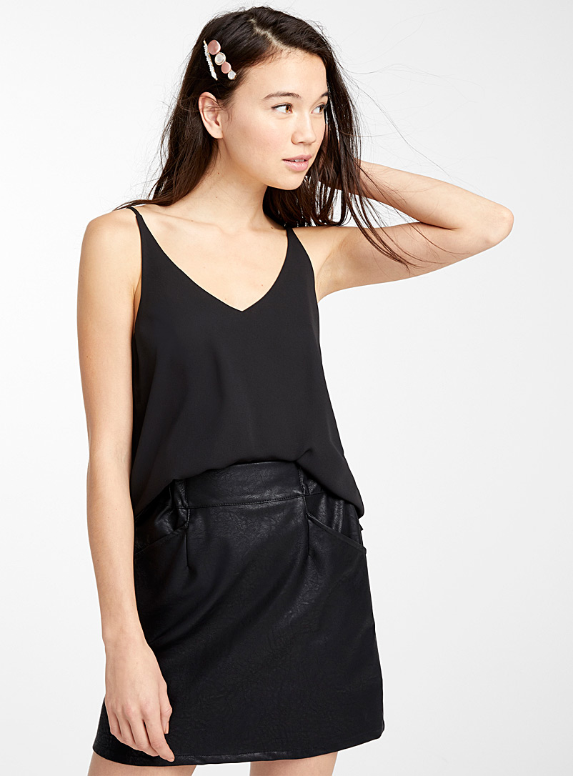 Twik Black Double-voile tank for women