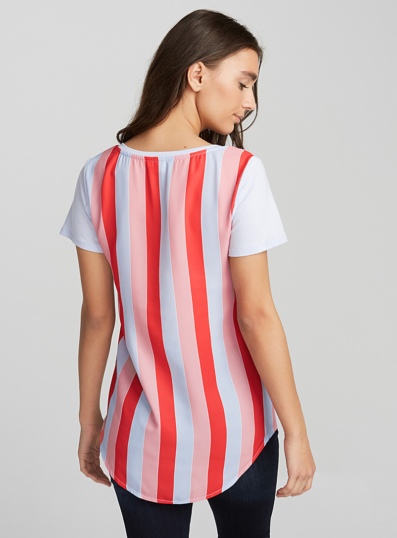 Printed voile-back tee - Short Sleeves - Assorted