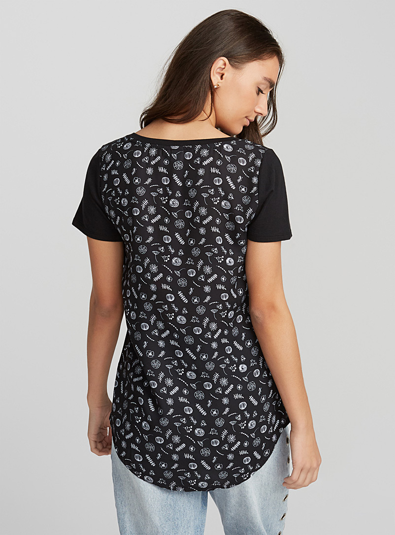 Printed voile-back tee - Short Sleeves - Silver