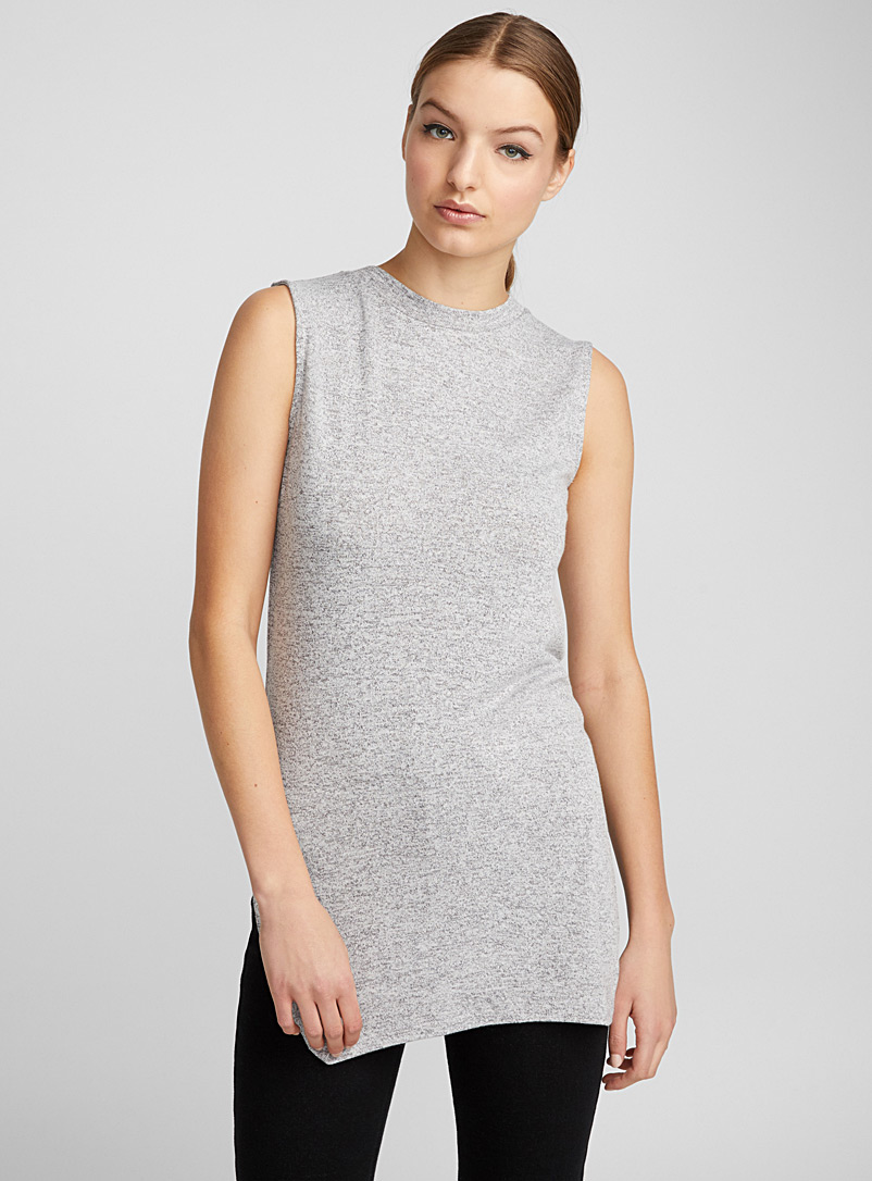 Heathered knit sleeveless tee - Tank Tops - Grey
