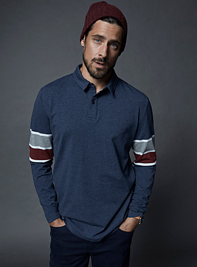 Striped-sleeve organic cotton polo