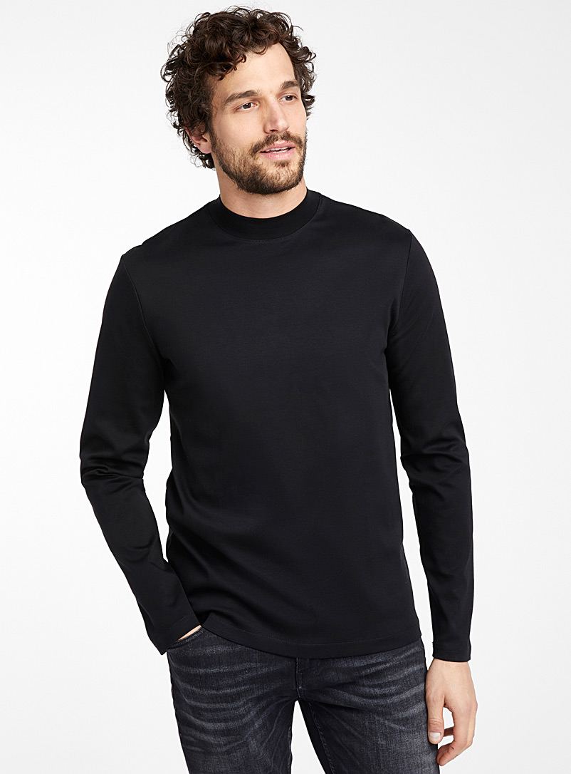 Le 31 Black Mercerized cotton mock-neck T-shirt for men