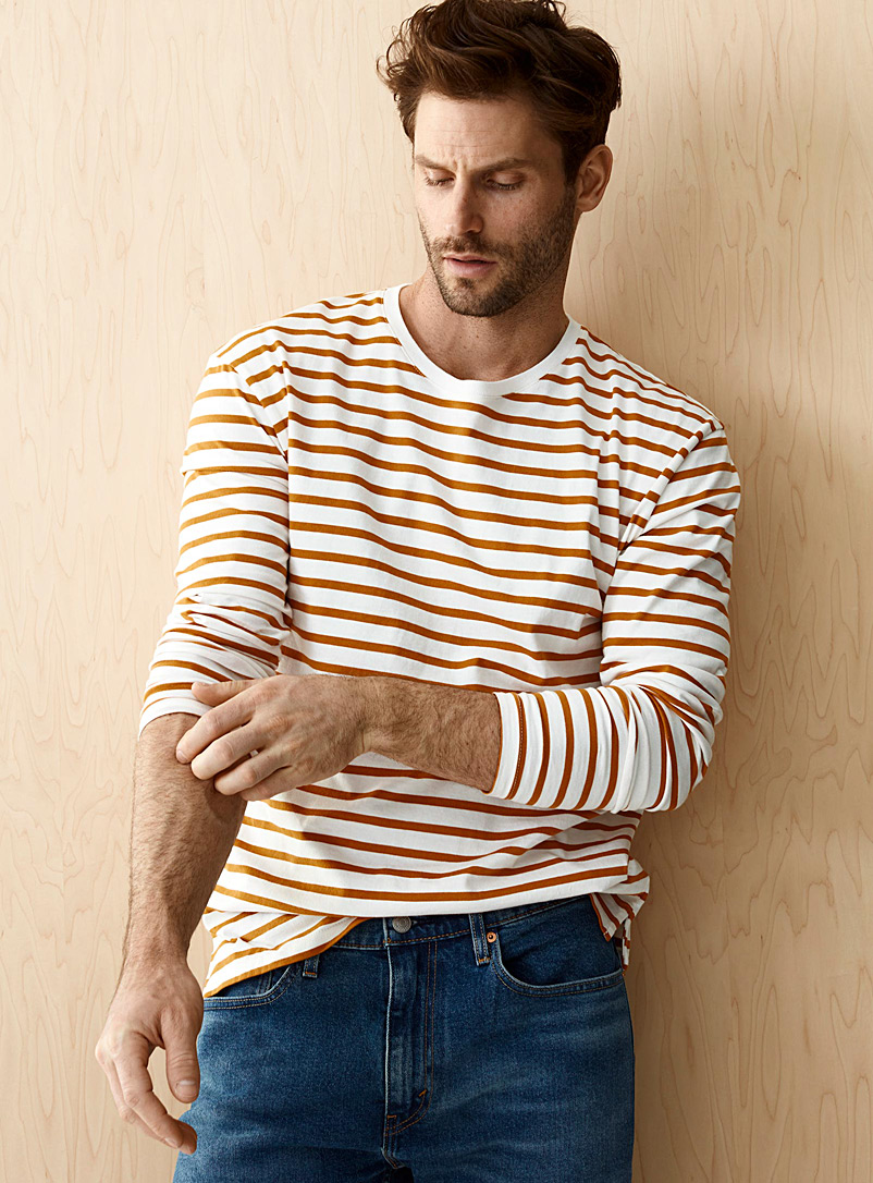 Le 31 Brown Eco-friendly twin-stripe T-shirt for men