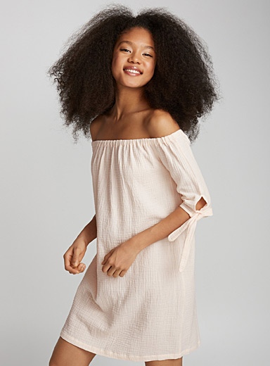 Artisanal waffled off-the-shoulder dress