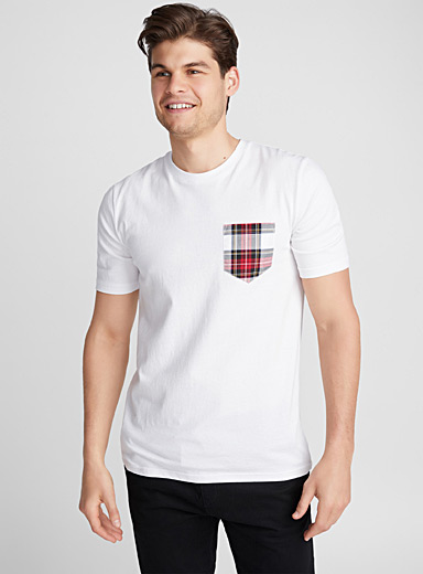 Tartan pocket organic cotton T-shirt