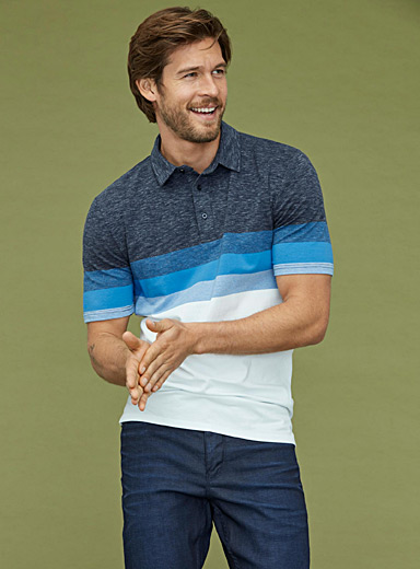Ombré-block organic cotton polo