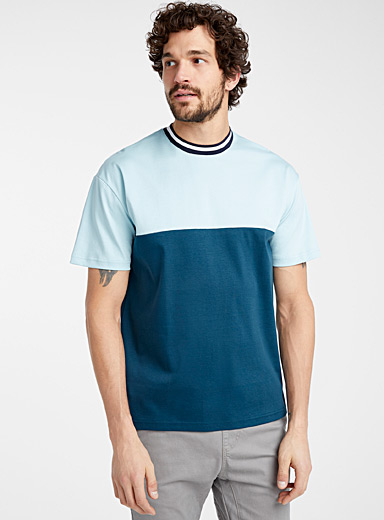 Striped-collar blocked T-shirt