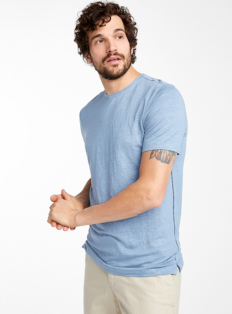 Le 31 Baby Blue Stretch linen T-shirt for men