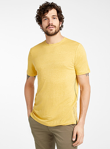 Le 31 Medium Yellow Stretch linen T-shirt for men