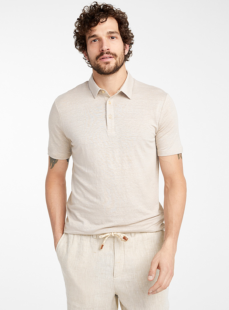 Le 31 Ecru/Linen Stretch linen polo for men