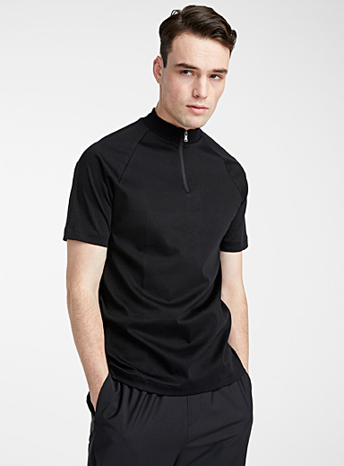 Half-zip mock neck T-shirt