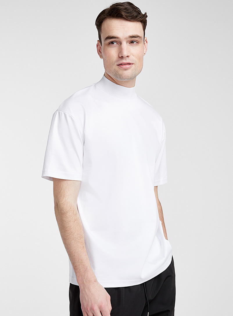 Le 31 White Mercerized organic cotton mock-neck T-shirt for men