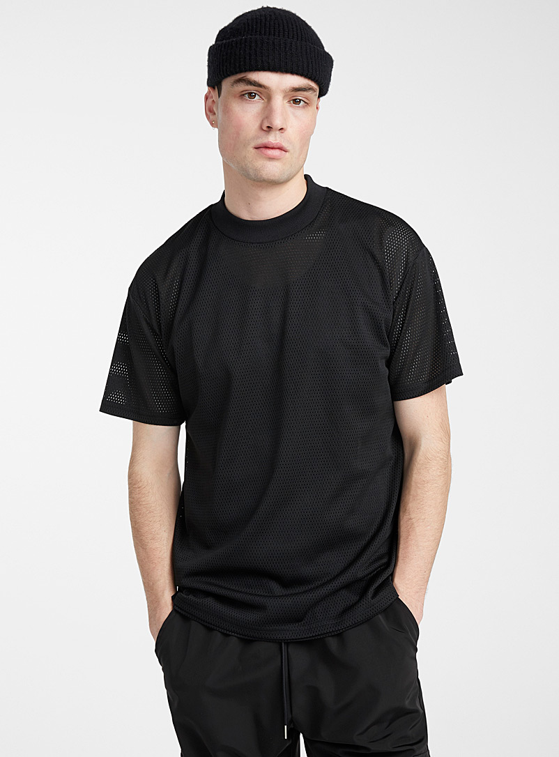 Le 31 Black Micro-mesh T-shirt for men