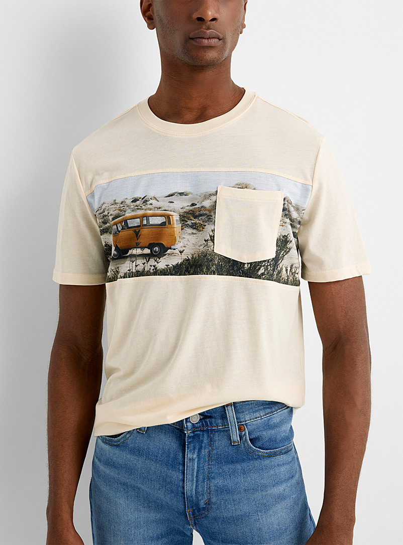 Le 31 Tan Panoramic block T-shirt for men
