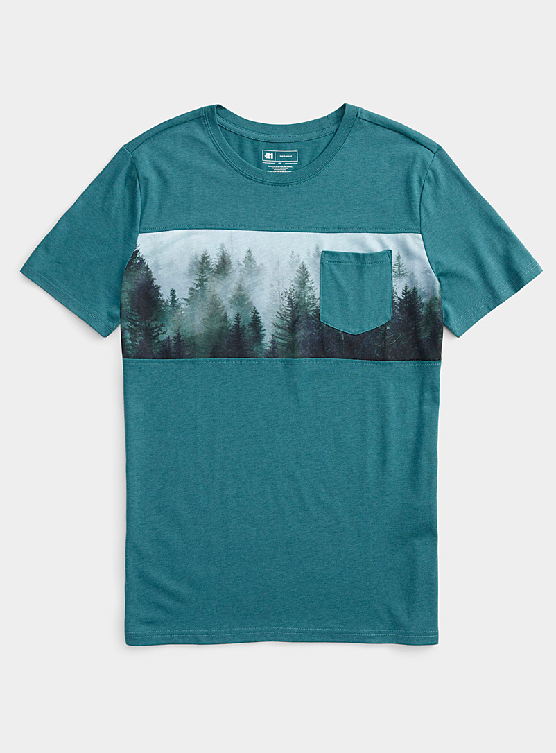 Le 31 Slate Blue Panoramic block T-shirt for men