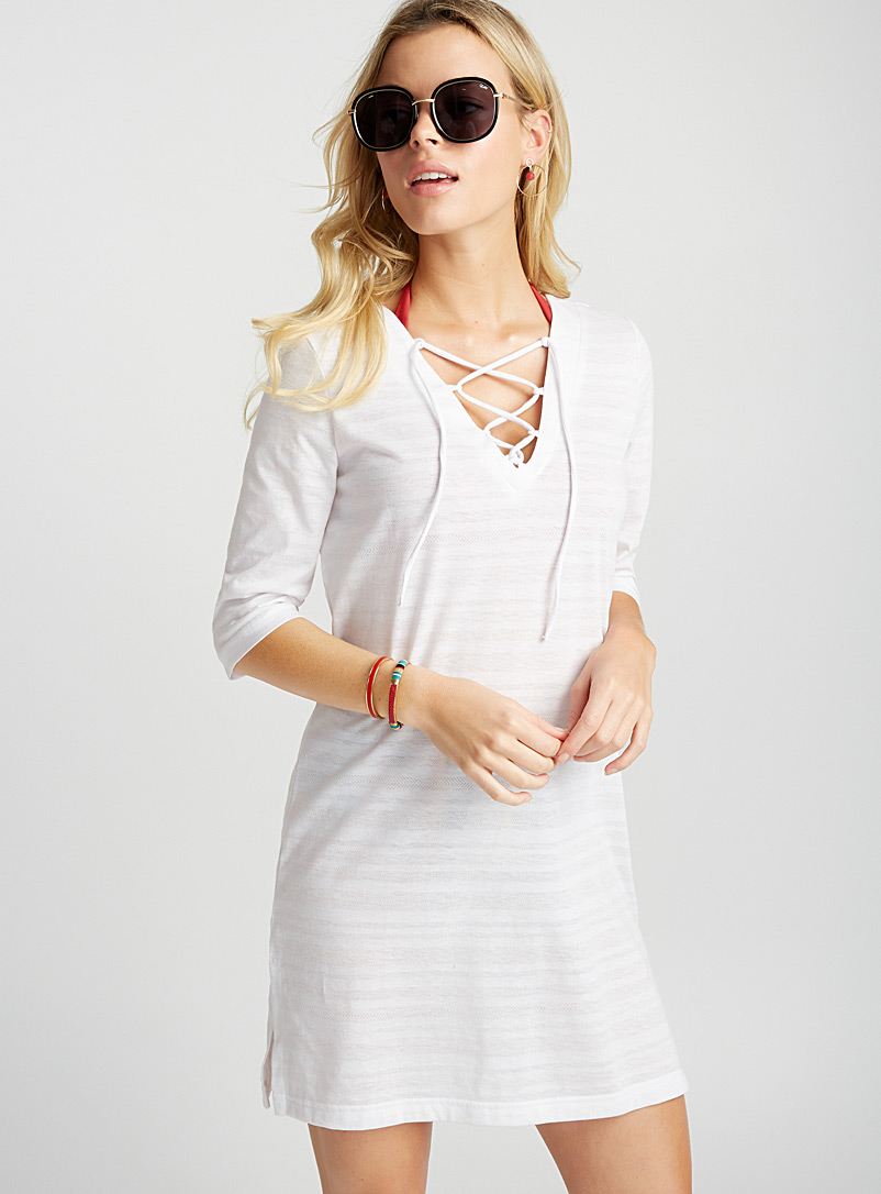 Laced V-neck burnout beach tunic - Dresses - Ivory White